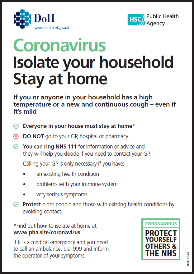Coronavirus Isolate your household Stay at home